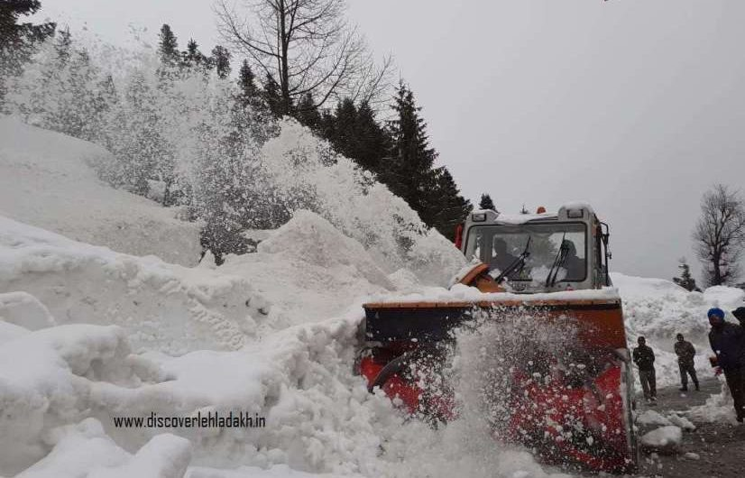 Snow cutter clears snow near Rohtang pass